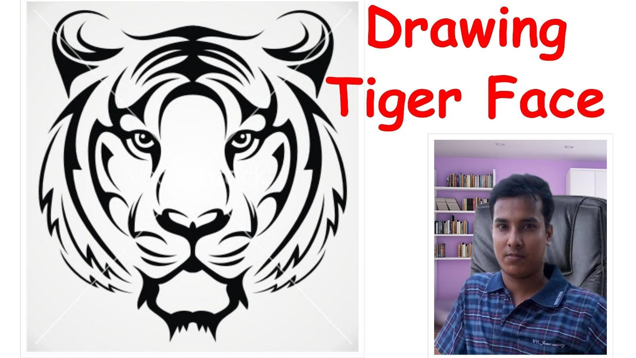 How To Draw A Tiger Face Youtube