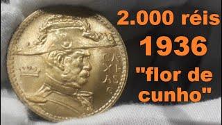 """MOEDA LINDA DE 2.000 RÉIS 1936 """"FLOR DE CUNHO"""""""