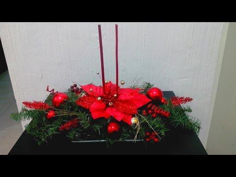 Haz un bonito centro de mesa navide o diy youtube - Centro de mesa navideno ...