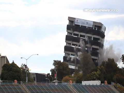 Cal State East Bay's Warren Hall implosion view from Pioneer Stadium in Hayward, Calif., on Saturday