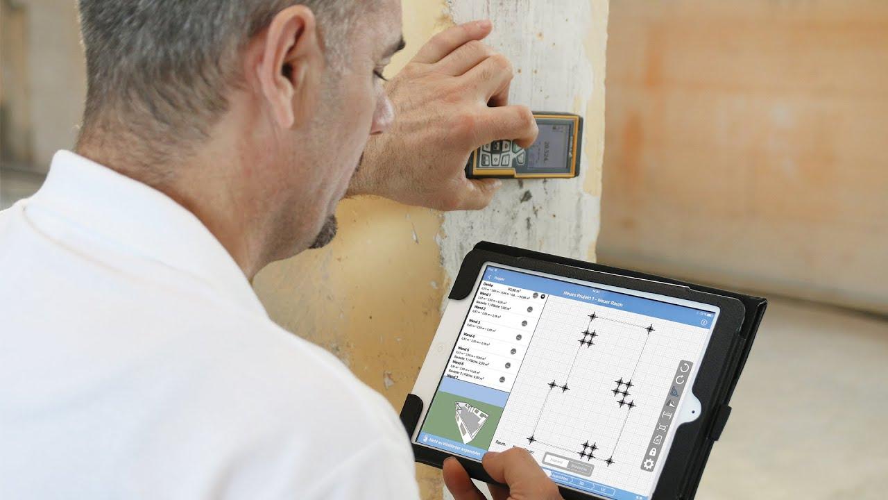 Laser Entfernungsmesser Hagebaumarkt : Raum aufmessen mit der aufmaß app mobiles raumaufmaß youtube