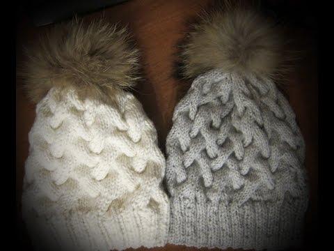 Вяжем спицами модные вязаные шапки узором Косы с тенью. Уроки вязания для новичков.
