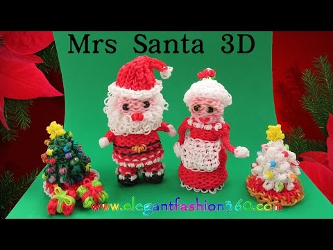 Rainbow Loom Mrs Santa 3D Charm/Holiday/Christmas/Santa Claus/Ornament How to Loom Bands