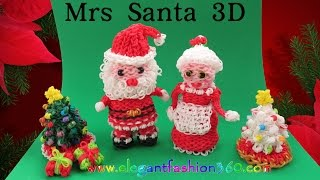 Rainbow Loom Mrs Santa 3d Charm/holiday/christmas/santa Claus/ornament How To Loom Bands