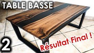 table basse diy resine epoxy noyer noir americain partie 2 resultat final