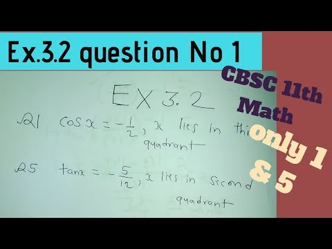 Exercise. 3.2 Q.1 CBSC 11th Math In Hindi