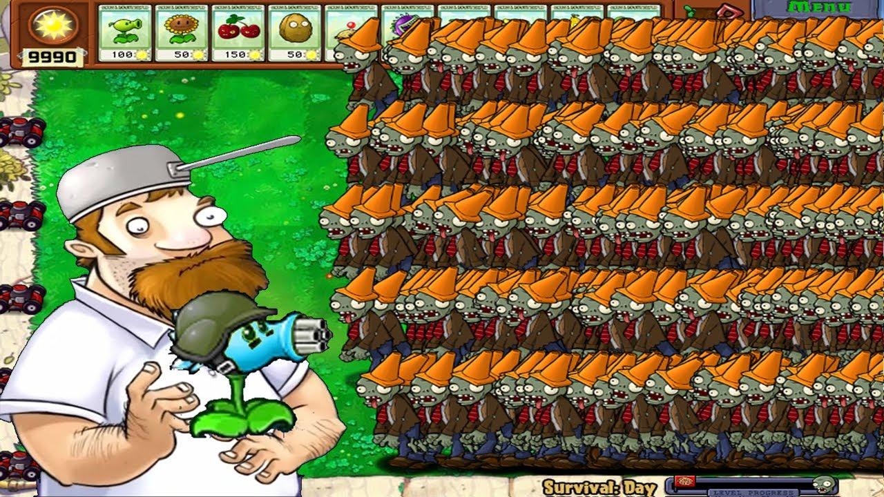 Plants Vs Zombies hack: Dave + Snow Gatling Pea Vs 999999 Conehead Zombie