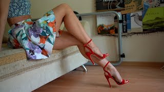 I bought new high heeled sandals and showing them on my feet, dangling and toe wiggling. Pretty feet