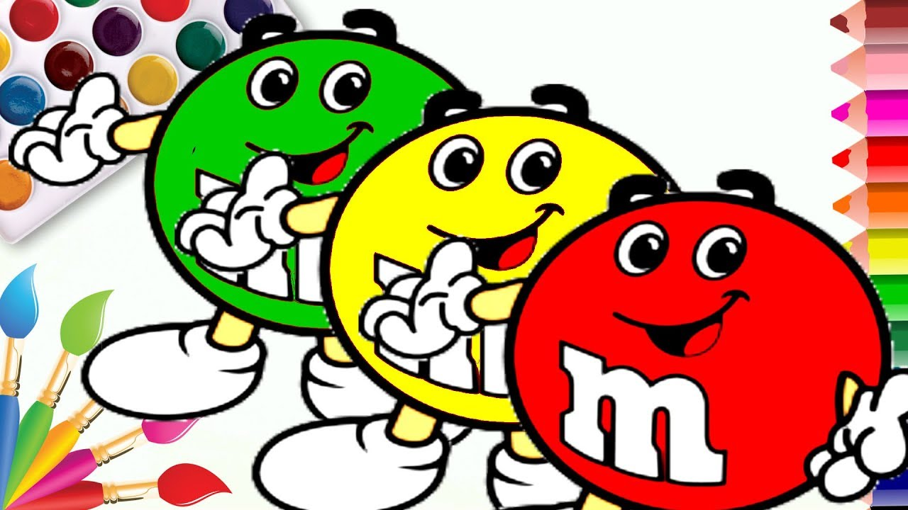 Learn Colors How To Draw M Ms Coloring Page Video For Kids By Coloring Book Youtube
