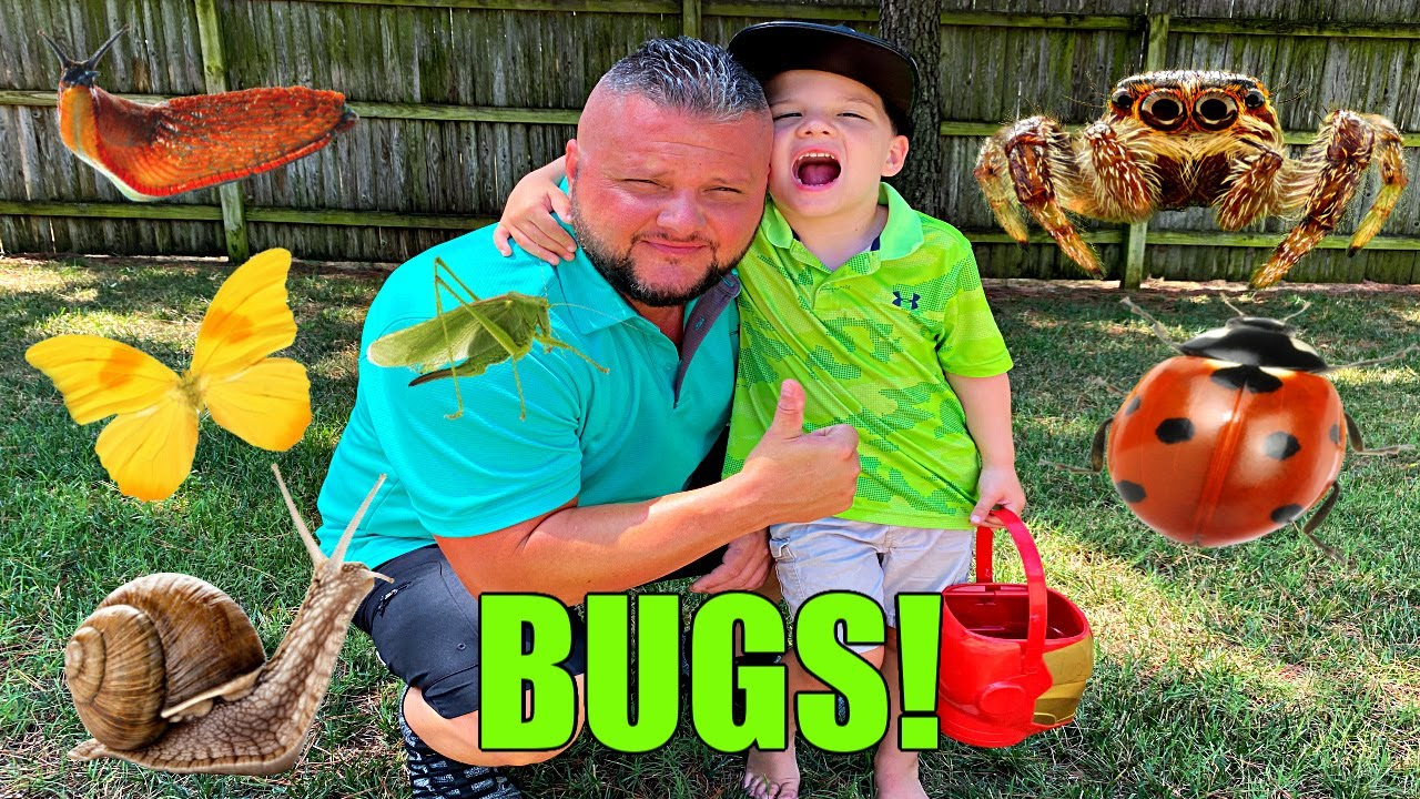 KIDS BUG HUNT! Caleb and Daddy Play and Find REAL BUGS Outside!