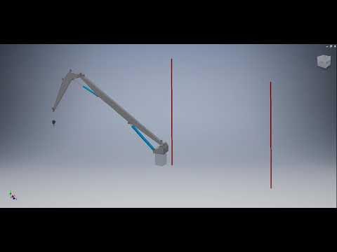 Inventor Knuckle boom crane pedestal movement max. outreach