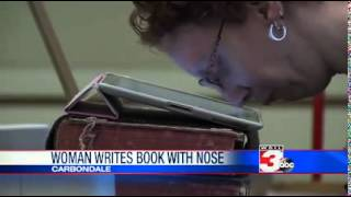 WSIL TV   Local Author Types Book With Her Nose