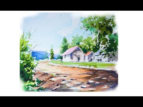 풍경수채화  Watercolor landscape painting.水彩画の風景