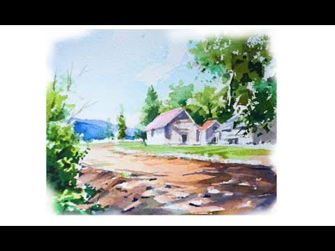 풍경수채화  Watercolor landscape painting.水彩画の風景