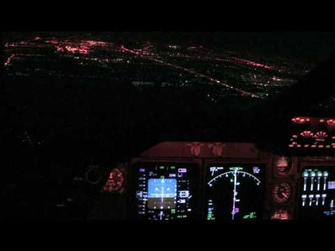 KLM Boeing B747-400 Night Landing Bangkok Cockpit view