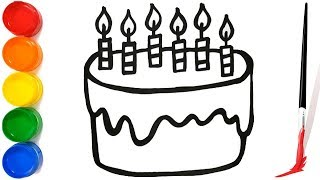 Easy Birthday Cake Drawing step by step For Children   Drawing and coloring Surprise Birthday cake