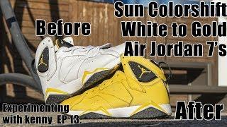 COLOR CHANGING JORDAN 7'S (white to gold)  - Custom DIY/Full Tutorial