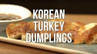 Korean Turkey Dumplings with Gochujang Dipping Sauce