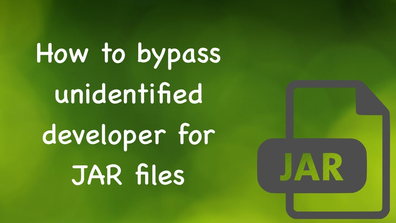 Mac - How to bypass unidentified developer with  jar files