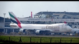 RARE! Emirates Boeing 747-400F Taxi & Takeoff at Belgrade Airport
