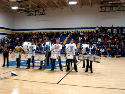 Chapel Hill High School Drum Line Pep Rally Performance 110411