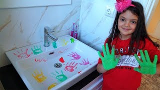 Masal and Öykü is cleaning the bathroom funny kids video