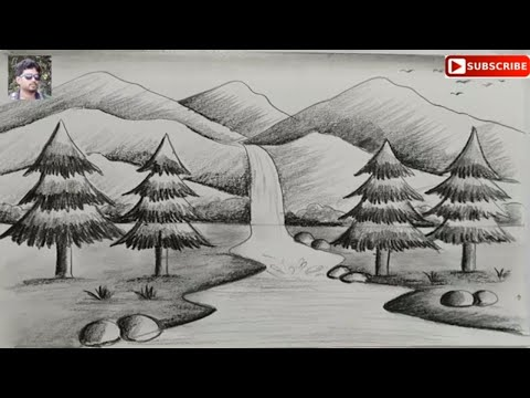 how to draw easy pencil sketch scenery for kids,landscape pahar and river side scenery drawing thumbnail
