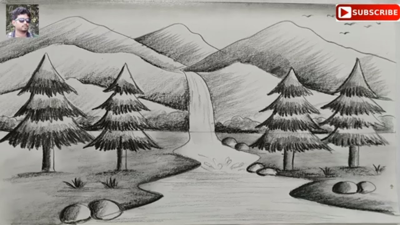 How To Draw Easy Pencil Sketch Scenery For Kidslandscape Pahar And River Side Scenery Drawing