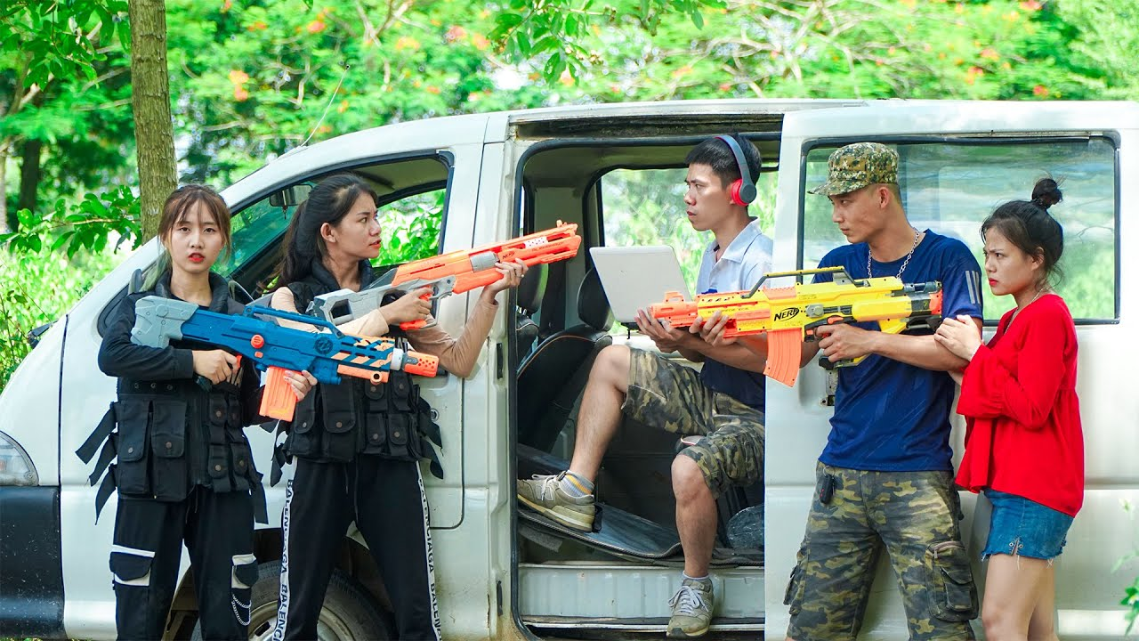 XGirl Nerf War: Cherry & SEAL X Girl Nerf Guns Criminal Group Dr. Alibaba rescuing Mrs. Boss
