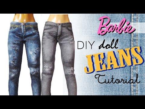 Doll/Barbie Jeans Tutorial // DIY Dolls/Dollhouse