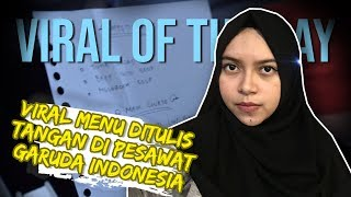 VIRAL HARI INI: Viral Foto Kartu Menu Ditulis Tangan Milik Garuda Indonesia, 2 Youtuber Dilaporkan