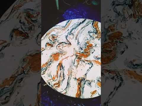 Marbled epoxy resin table