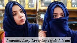 Hijab Style very Easy to wear without inner cap,bonnet/Niqab Tutorial