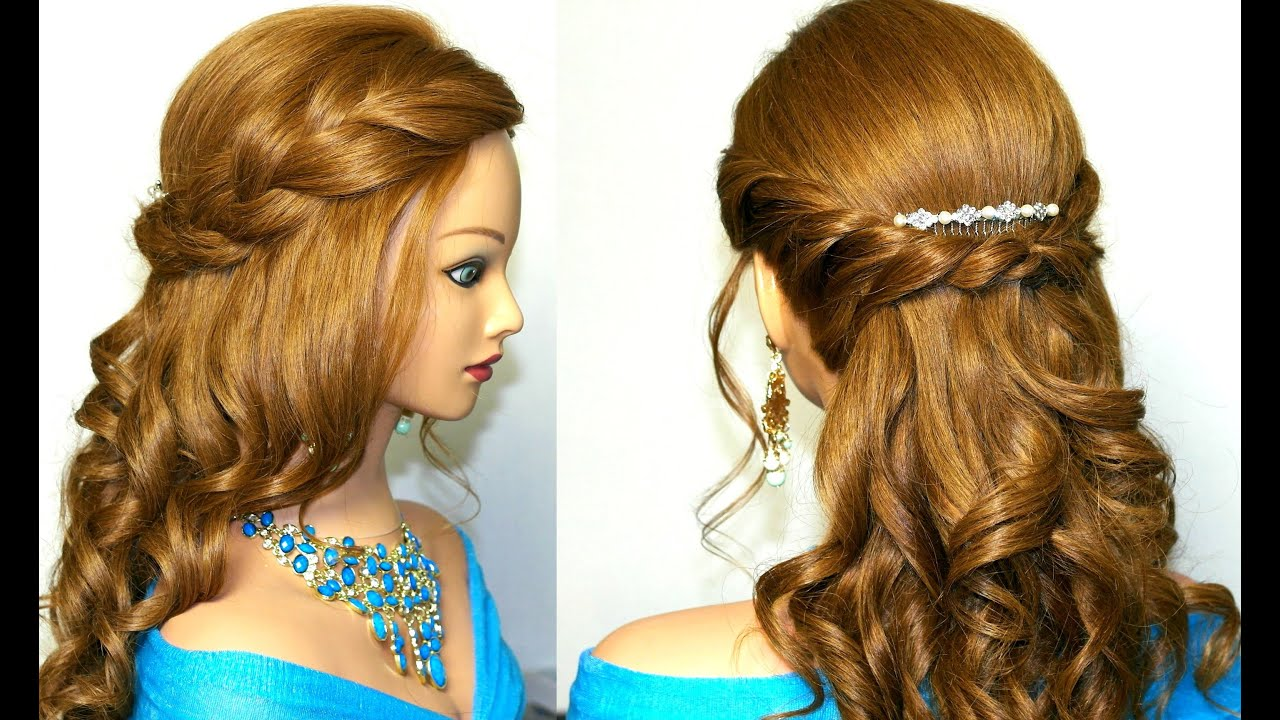 23 Romantic Wedding Hairstyles For Long Hair: Curly Prom Hairstyle For Medium Long Hair. Tutorial