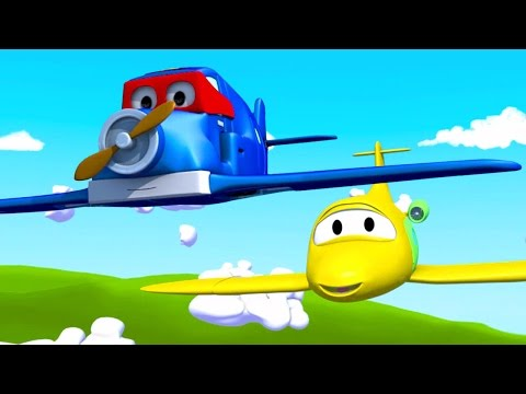 Carl o Super Caminhão e o Avião na Cidade do Carro  Desenho animado para crianças