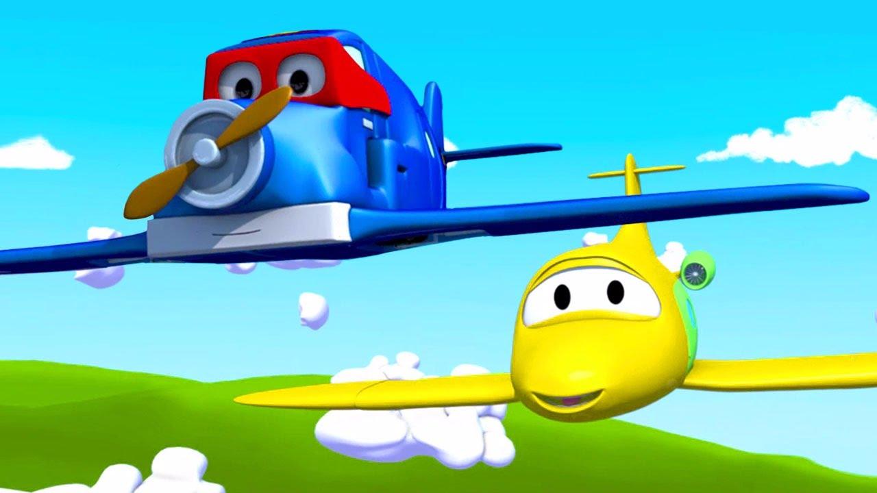 carl o super caminhão e o avião na cidade do carro desenho animado