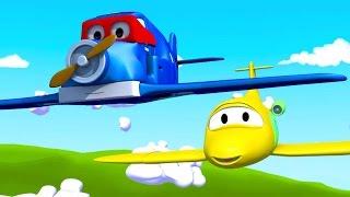 Carl o Super Caminhão e o Avião na Cidade do Carro | Desenho animado para crianças