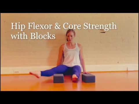 hips flexor and core strength exercises with yoga blocks