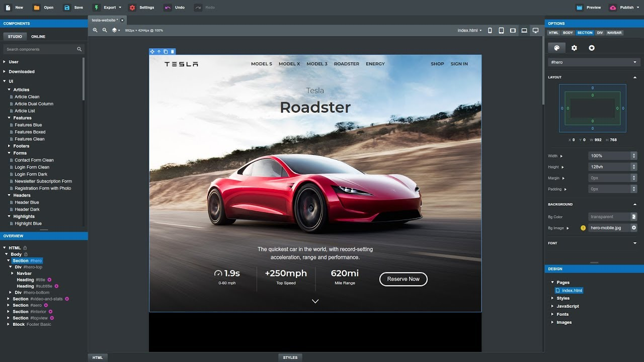 Creating teslas website in bootstrap studio 4 tutorial youtube creating teslas website in bootstrap studio 4 tutorial falaconquin