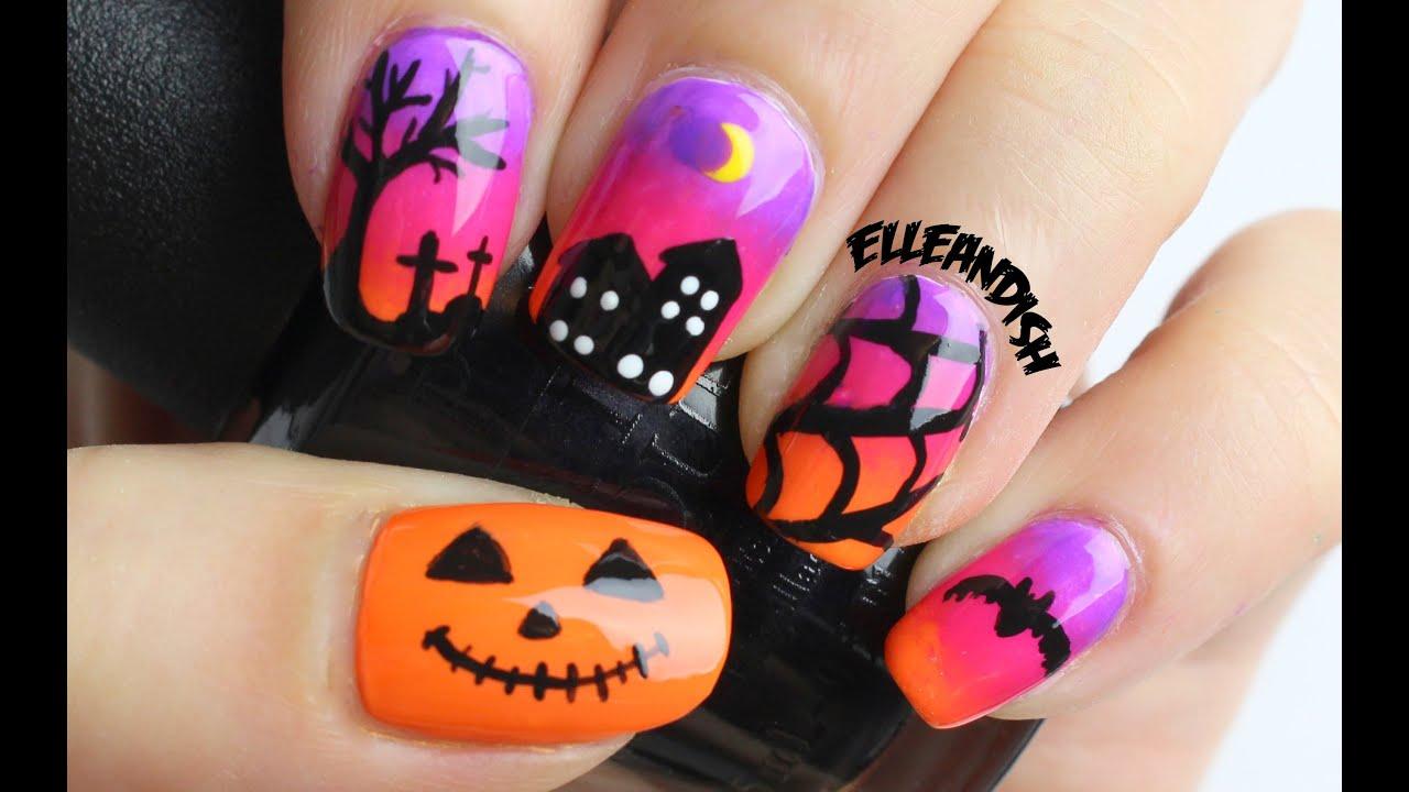halloween nails - spooky sunset