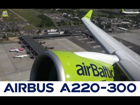 Airbus A220-300 (CS300) SUPER SILENT Geared Turbofan Takeoff with SCENIC airport views! [AirClips]