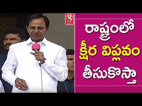 CM KCR Speech | KCR Holds Meet With Dairy Farmers In Pragathi Bhavan | V6 News