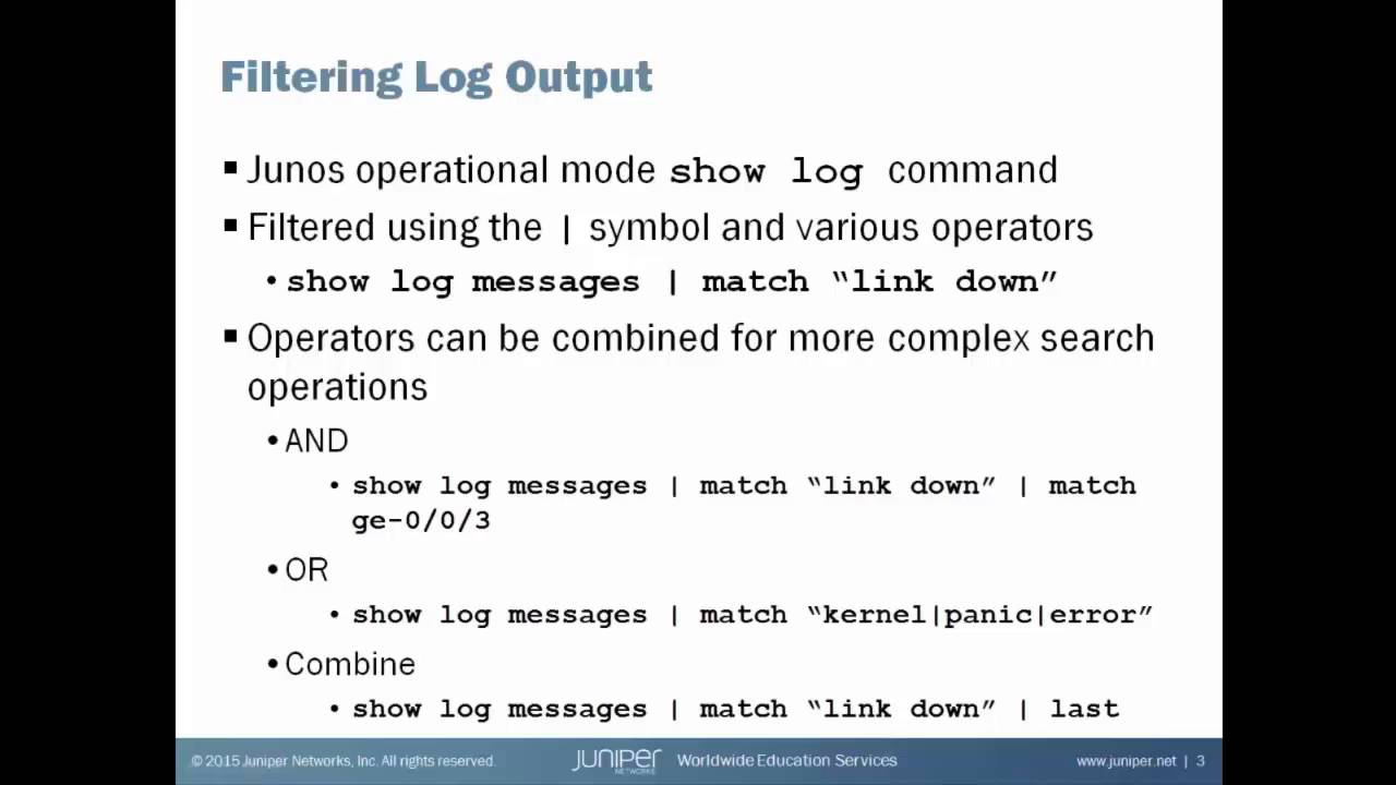 Log Filtering on a Junos Device