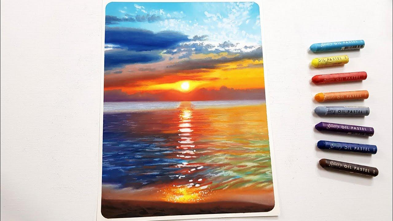Drawing Sunset sea/ Oil pastel drawing/ Swanee art 오일파스텔로 노을 바다 풍경 그리기