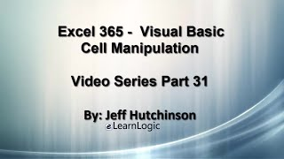 Excel 365 Visual Basic Part 31…