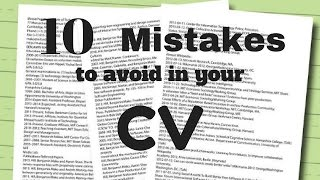 10 mistakes to avoid In CV for Job Hunting