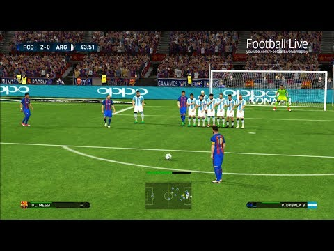 PES 2017 | FC Barcelona vs Argentina | L.Messi Free Kick Goal & Hat Trick & Full Match | Gameplay PC