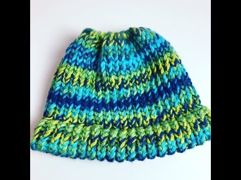 Messy Bun Hat Loom Knitting For Beginners - YouTube d189327f266