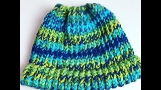 Messy Bun Hat Loom Knitting For Beginners