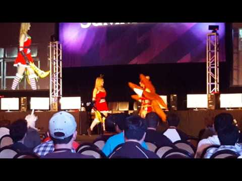Gnar, me as Katarina, and Christina Grimmie as Ahri - Summoners Con 2015 Cosplay Contest